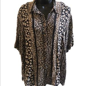 Animal print button blouse by Koret Large